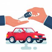 Key Car In Hand Cartoon Style. Give, Take Car Key. Buy Rent Vehicle. Vector Illustration Flat Design poster