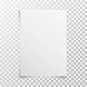 White Realistic Blank Paper Page With Shadow Isolated On Transparent Background. A4 Size Sheet Paper poster