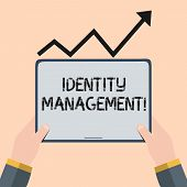 Handwriting Text Writing Identity Management. Concept Meaning Administration Of Individual Identitie poster