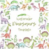 Square Banner From Cartoon Watercolor Dinosaurs. Cute Hand Drawn Funny Illustration Of Dinosaurs Qua poster
