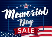 Memorial Day Sale Banner. Remember And Honor. Vector Illustration Hand Drawn Text Lettering With Sta poster