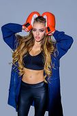 Sport Woman With Boxing Gloves. Fitness. Healthy Lifestyle. Boxing Gloves. Boxing Girl. Sport. Wrest poster