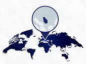 Serbia Detailed Map Highlighted On Blue Rounded World Map. Map Of Serbia In Circle. poster