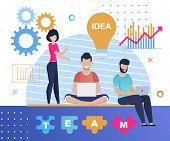 Team Working On Idea Creation Cartoon Flat Banner. Smiling Men Typing On Laptops, Woman Brainstormin poster