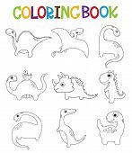 Funny Cartoon Dinosaurs Collection. Coloring Book. Vector Illustration poster