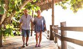 Happy Senior Couple Walking Holding Hand At Koh Phangan Beach Promenade - Active Elderly And Travel  poster