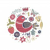Cute Cartoon Vector Bird Card. Folk Art Vector Animal Illustration In Scandinavian Style. Tribal Sum poster