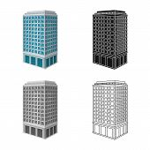 Vector Illustration Of Skyscraper And House Logo. Collection Of Skyscraper And Hotel Vector Icon For poster