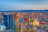 Las Vegas, Nevada, USA skyline over the strip at dusk. poster