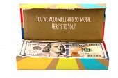 Gift Box with Money. American Cash in a Gift Package. Isolated on white. Room for text.   poster