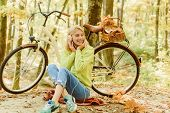 Musical Pause. Enjoy Relax Forest. Girl Ride Bicycle For Fun. Warm Autumn. Girl With Bicycle And Hea poster