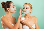 Girls Friends Sisters Making Clay Facial Mask. Anti Age Mask. Stay Beautiful. Skin Care For All Ages poster