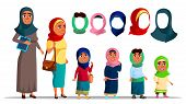 Arabian Characters Women Wearing Hijab Vector. Religion Muslim Adult Female And Little Girl Children poster