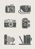 photocamera retro and new set icons vector illustration