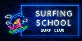 Surfing Poster In Neon Style. Glowing Sign For Surf Club Or Shop. Surfboards Electric Icons On Brick poster
