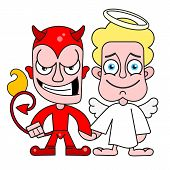Angel And Demon Good And Evil Vector For T-shirt poster