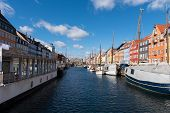 Nyhavn Canal Under A Blue Sky With Some Clouds poster