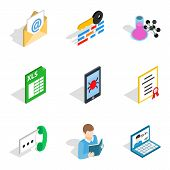 Business Correspondence Icons Set. Isometric Set Of 9 Business Correspondence Icons For Web Isolated poster