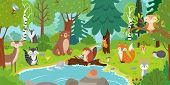Cartoon Forest Animals. Wild Bear, Funny Squirrel And Cute Birds On Forests Trees Kids Vector Backgr poster