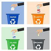 Hand Throws Out Trash. Separate Garbage Disposal. Hand Throws Garbage poster