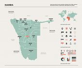 Vector Map Of Namibia. Country Map With Division, Cities And Capital Windhoek. Political Map,  World poster