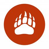 Vector Bear Paw Footstep Silhouette For Logo, Icon, Poster, Banner. Wild Animal Paw Print With Claws poster