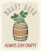 Craft Beer Vintage Poster. Artisanal Crafted Brewing Good Ale Vector Retro Illustration, Crafting Be poster
