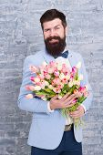 Guide For Modern Man. Romantic Man With Flowers. Romantic Gift. Macho Getting Ready Romantic Date. T poster