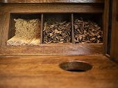 Wooden Disposable Stirring Sticks For Coffee And Sugar In Sticks Lie On A Wooden Shelf poster