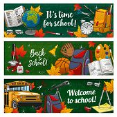 Back To School Chalkboard Banners Of Student Education Supplies And Lessons Study Items. Vector Welc poster