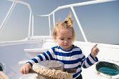 Collecting Memories. Entertainment Jobs. Baby Boy Enjoy Vacation Sea Cruise Ship. Child Sailor. Boy  poster