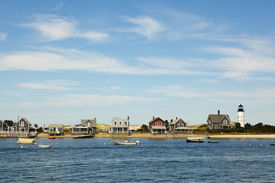 stock photo of cape-cod  - houses and lighthouse by the sea near hyannis port - JPG