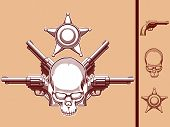 image of sherif  - A vector set of a wild west themed vector objects: skull, revolver & sherif badge in vintage style. This vector is very good for design that needs wild west or skull element in vintage style.
