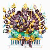 picture of ganapati  - Hindu ganesha God Named Maha Ganapati at temple in thailand - JPG