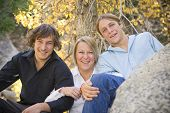 foto of teenage boys  - Photo of single mom with her two teenage boys - JPG