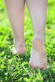 Female Beautiful Feet Stepping On Green Grass In Summer