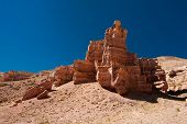 Rock Formations At Charyn Canyon Under Blue Sky. State National Paleontology Park In Kazakhstan