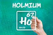 Hand drawing the symbol for the chemical element holmium