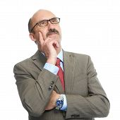stock photo of soliciting  - The businessman in spectacles on a white background - JPG