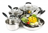picture of dutch oven  - Stainless steel pots and pans isolated on white background with vegetables - JPG