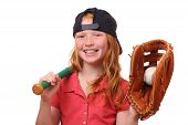 foto of little-league  - Happy red haired baseball girl on white background - JPG