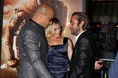 LOS ANGELES - AUG 28:  Vin Diesel, Katee Sackhoff, Jordi Molla at the