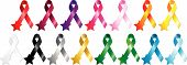 foto of breast cancer awareness ribbon  - Set of 15 colorful metallic aspect ribbons with star - JPG