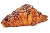 a chocolate croissant on a white background