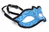 stock photo of carnivale  - an elegant blue and black carnival mask on a white background - JPG