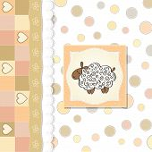 stock photo of baby sheep  - cute baby shower card with sheep vector illustration - JPG