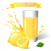 Fresh juice background with lemon