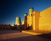 Kohna Ark at sunrise in the ancient city of Itchan Kala, Khiva, Uzbekistan