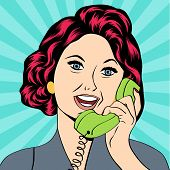 picture of homemaker  - Pop Art lady chatting on the phone vector illustration - JPG