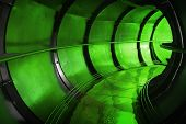 Abstract Green Underground Industrial Sewerage Tunnel Interior